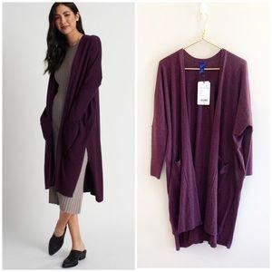 Kit Ace Long Haul Merino Wool Plum Cardigan